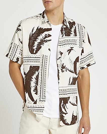 Ecru printed short sleeve shirt