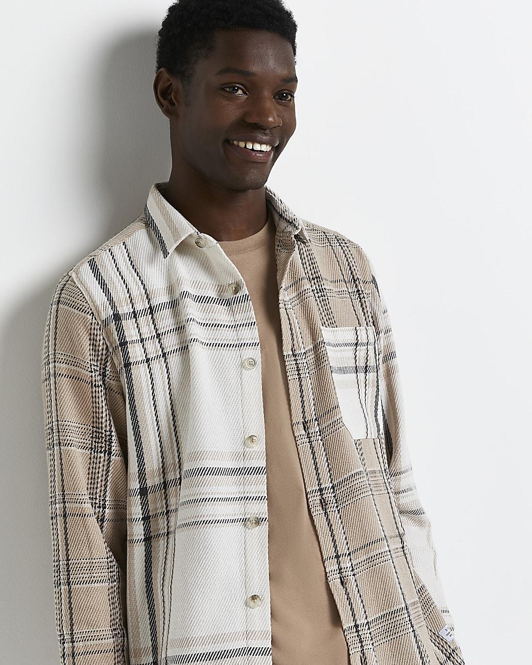 Ecru regular fit check colour block shirt