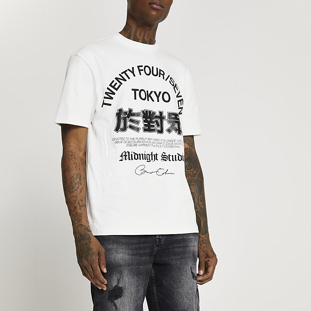 Ecru regular fit graphic t-shirt