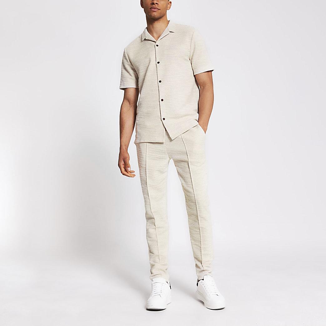 Ecru regular-fit jersey overhemd met korte mouwen