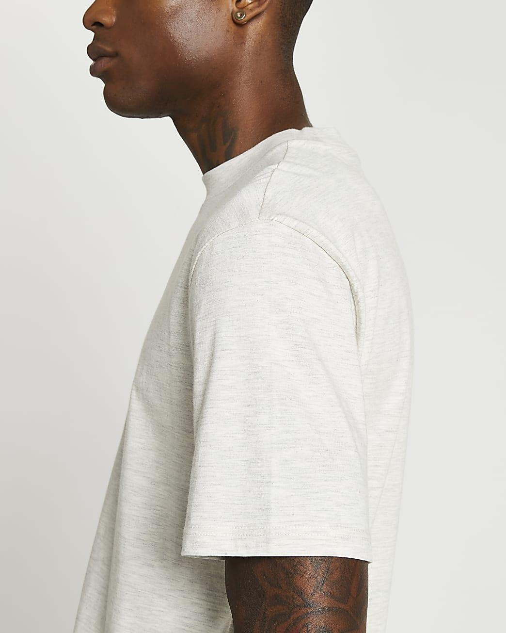 Ecru regular fit short sleeve t-shirt