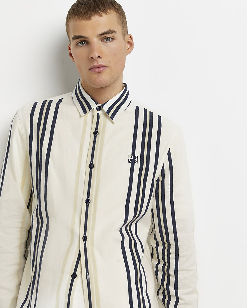 Ecru regular fit stripe long sleeve shirt