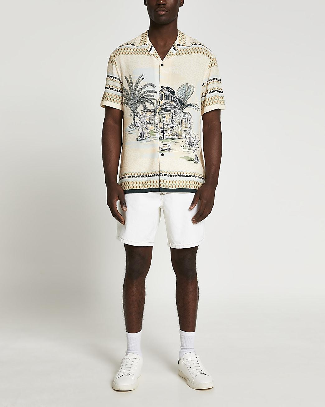 Ecru relaxed slim fit denim shorts