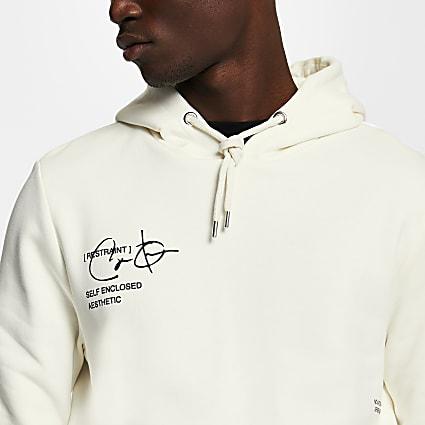 Ecru 'Restraint' print long sleeve hoodie