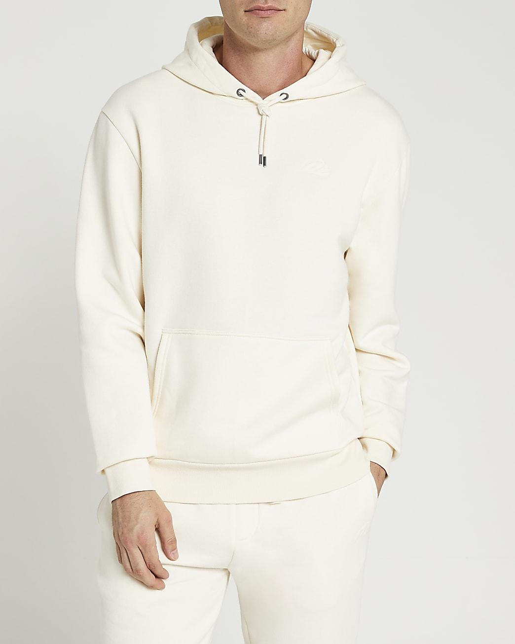 Ecru RI embroidered slim fit hoodie