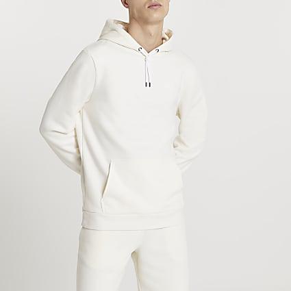 Ecru RI slim fit hoodie