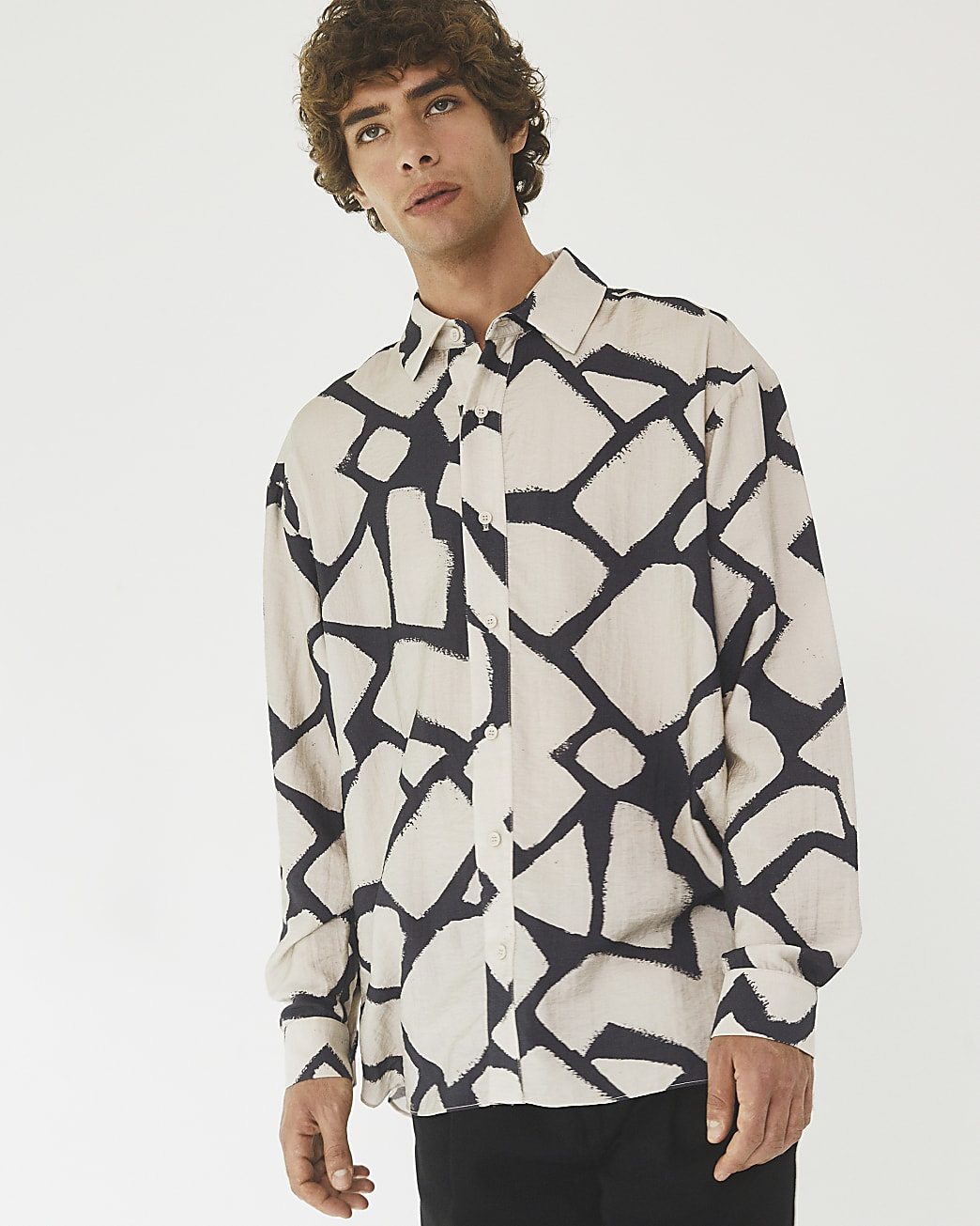 Ecru RI Studio marble print long sleeve shirt