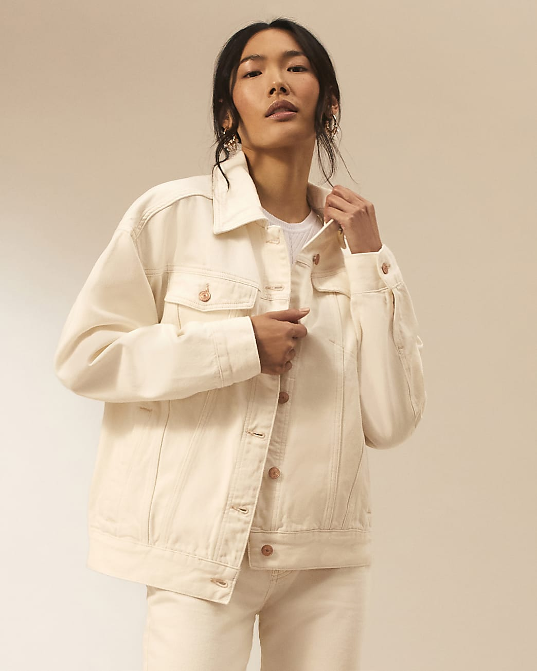 Ecru RI Studio oversized denim jacket