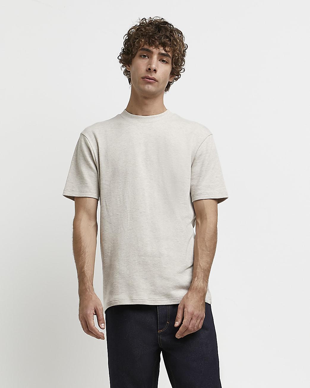 Ecru RI Studio slim fit high neck t-shirt