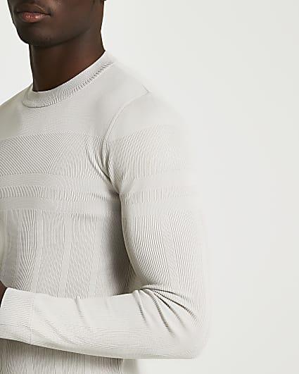 Ecru ribbed muscle fit crew neck jumper