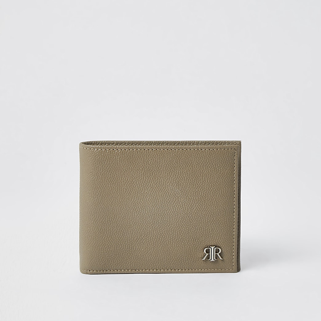 Ecru 'RIR' leather fold out wallet