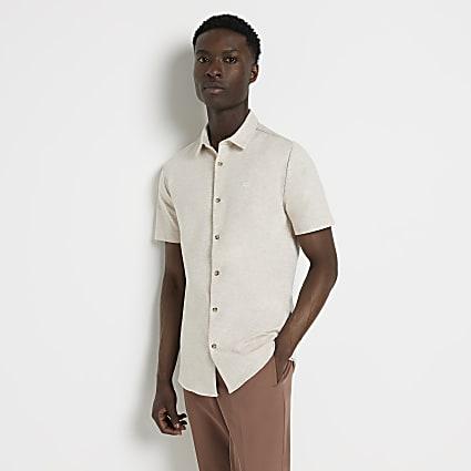 Ecru short sleeve muscle fit shirt
