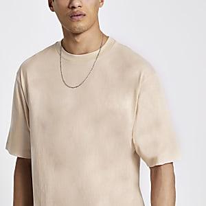 Ecru oversized T-shirt met korte mouwen