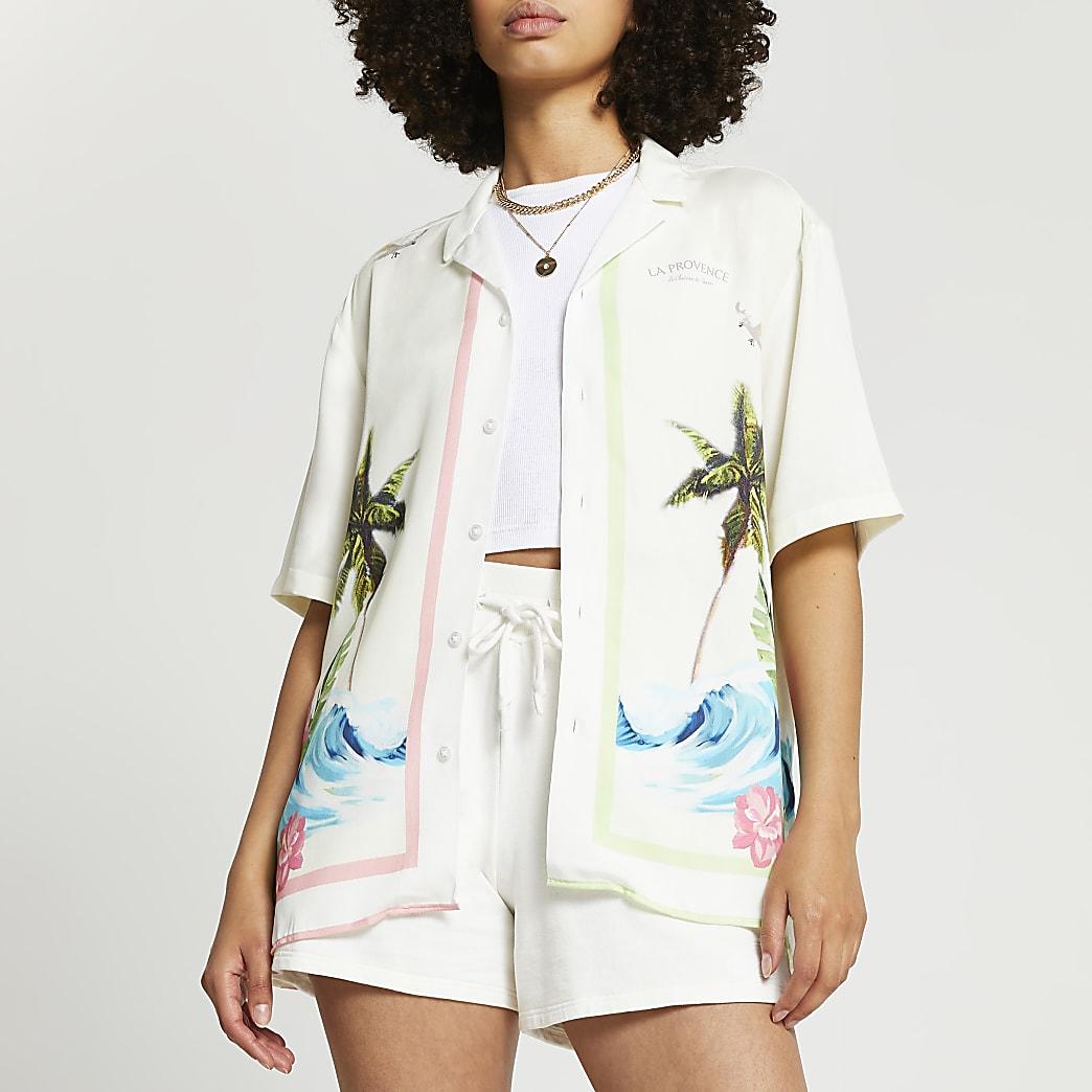 Ecru short sleeve surf landscape shirt