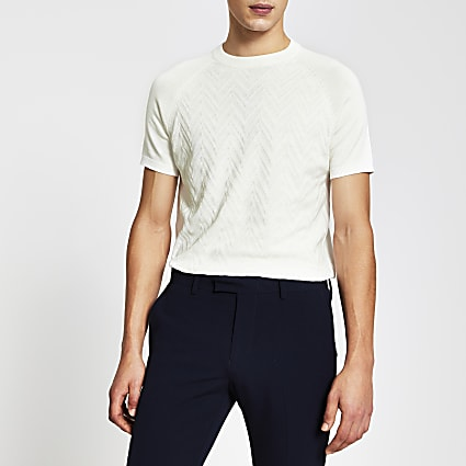 Ecru short sleeve textured knitted t-shirt