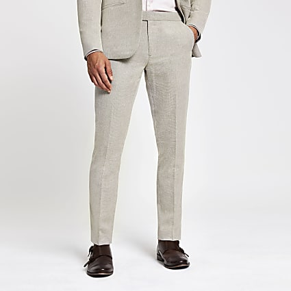 Ecru skinny suit trousers