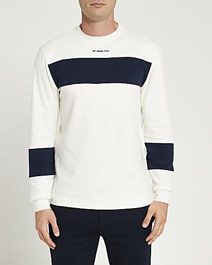 Ecru slim fit block long sleeve t-shirt