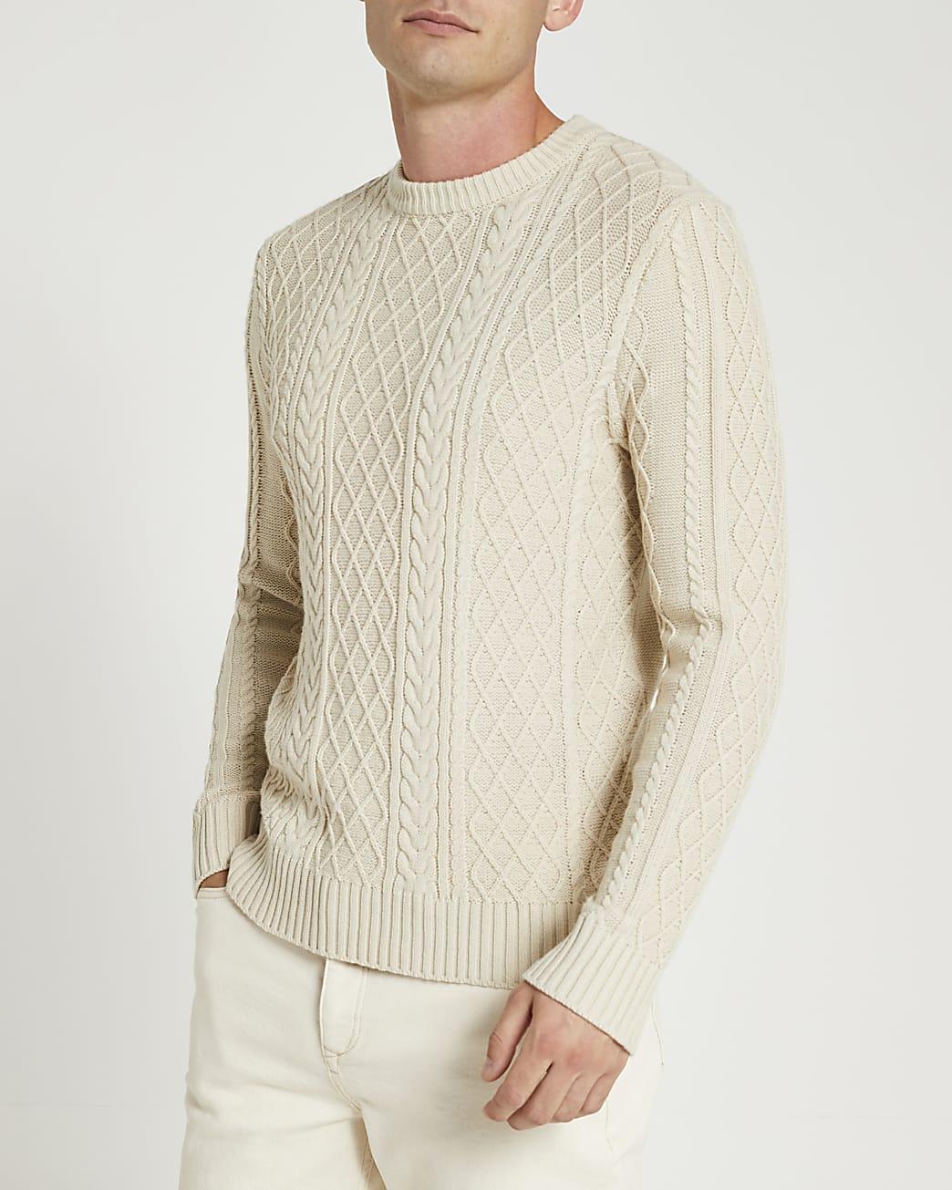 Ecru slim fit cable knit jumper
