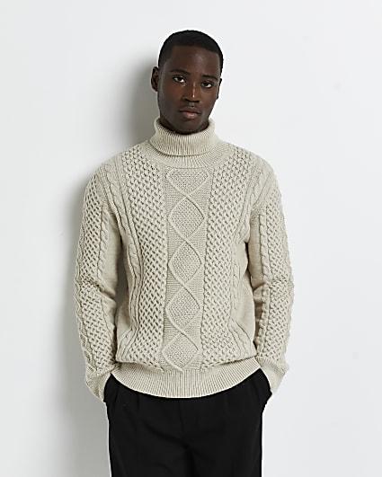 Ecru slim fit cable knit roll neck jumper