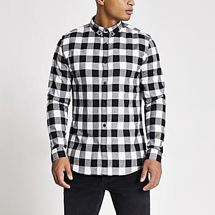 Ecru slim fit check long sleeve shirt