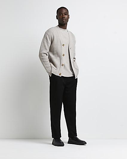 Ecru slim fit chunky ribbed cardigan