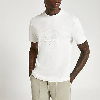 Ecru slim fit graphic embroidered t-shirt