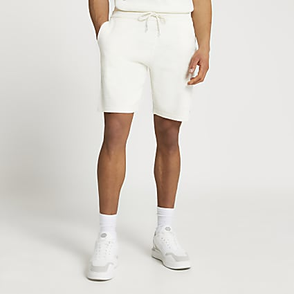 Ecru slim fit linen shorts