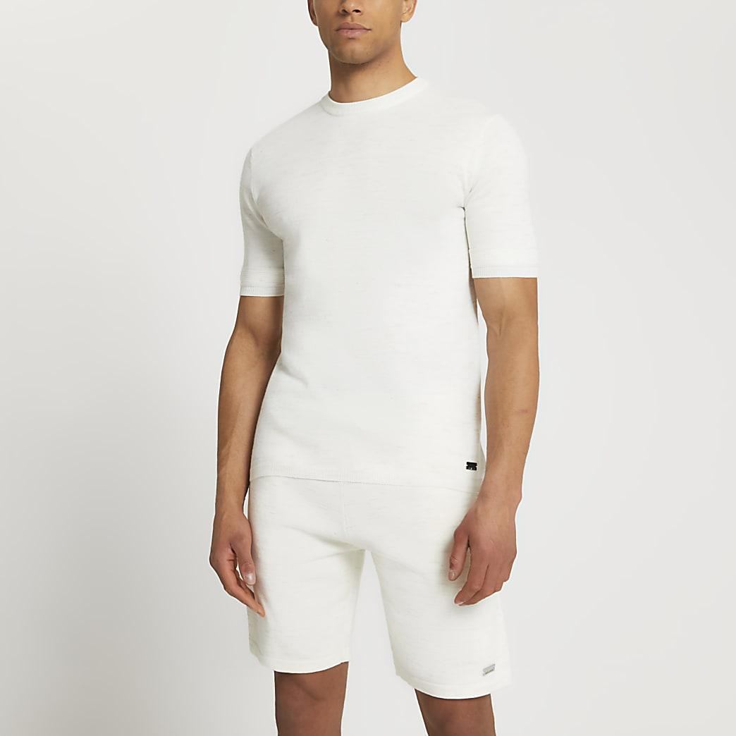 Ecru slim fit linen t-shirt