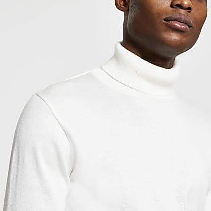 Ecru slim fit roll neck jumper