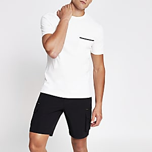 Ecru slim fit short sleeve pocket T-shirt