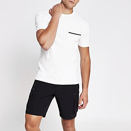 Ecru slim fit short sleeve pocket T-shirt