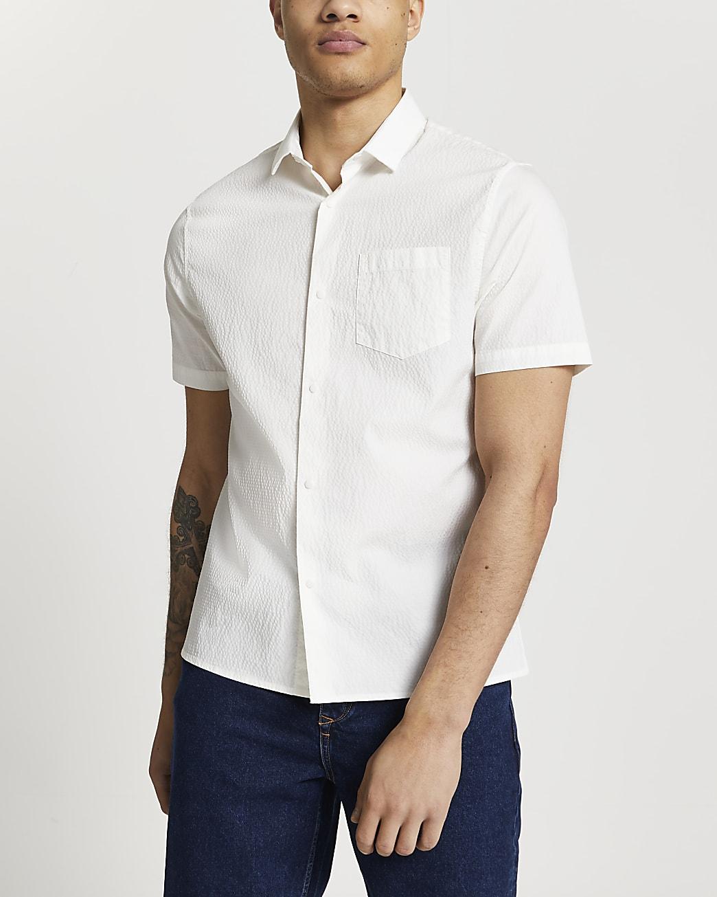 Ecru slim fit short sleeve shirt