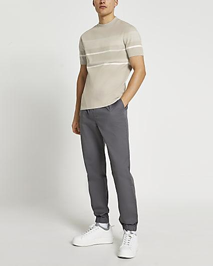 Ecru slim fit stripe knit t-shirt
