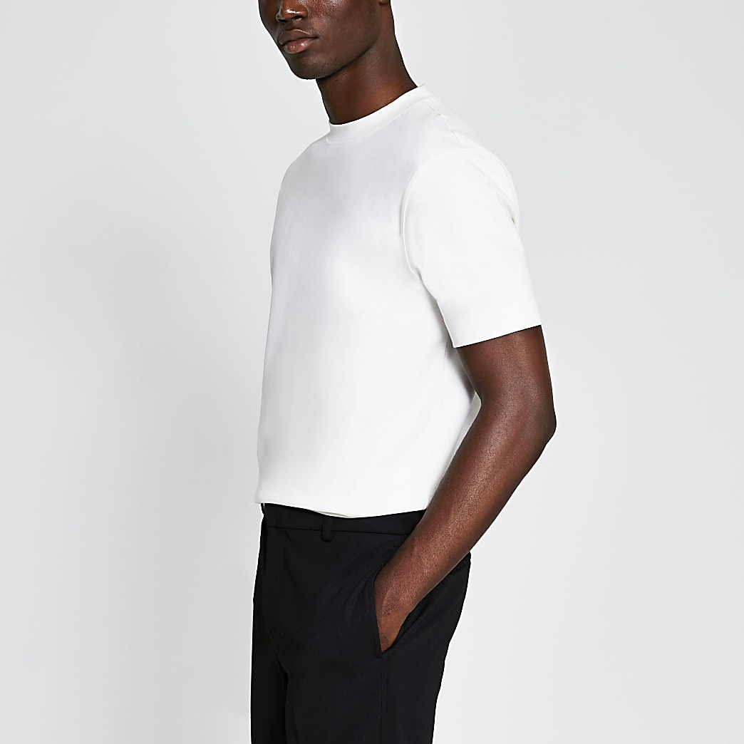 Ecru slim fit t-shirt
