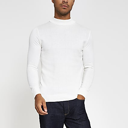Ecru slim fit turtle neck jumper