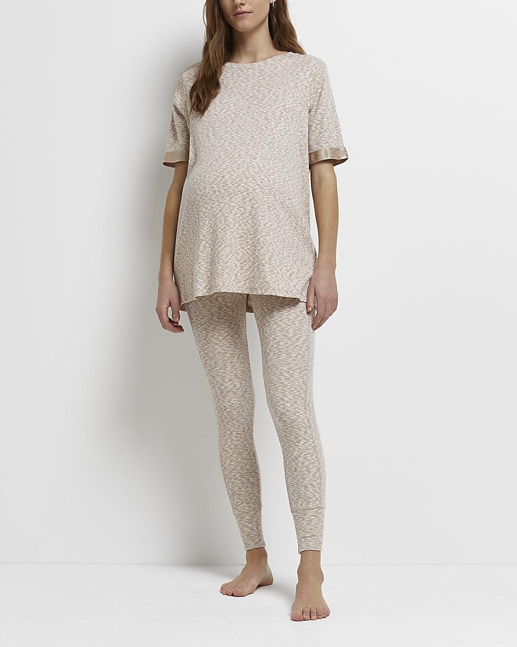 Ecru space dye print maternity leggings