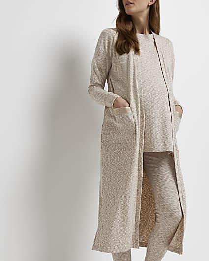 Ecru space dye print maternity maxi cardigan