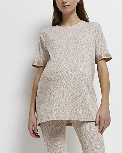 Ecru space dye print maternity t-shirt