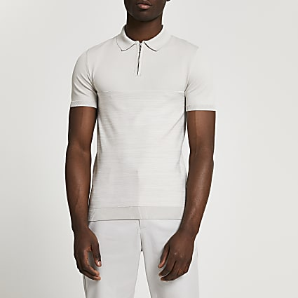 Ecru spacedye block short sleeve polo shirt