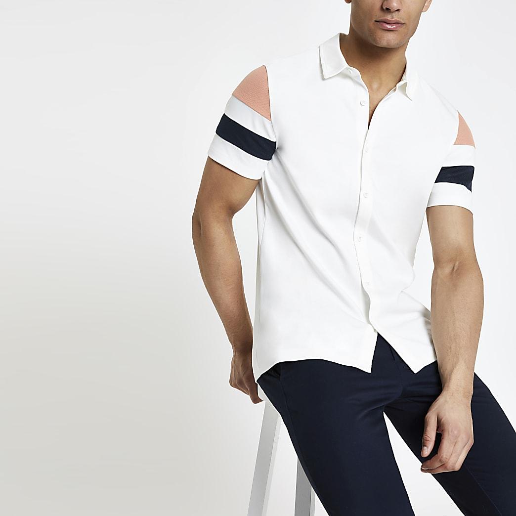 Ecru stripe button through shirt