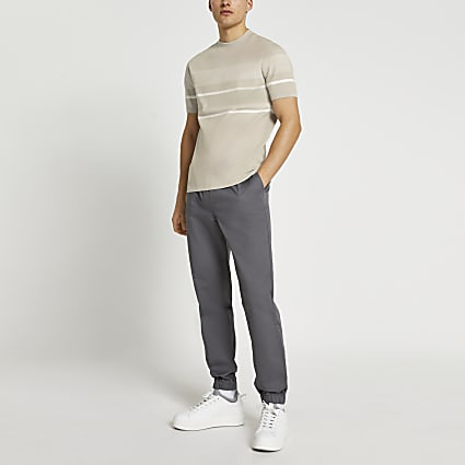 Ecru stripe knit t-shirt