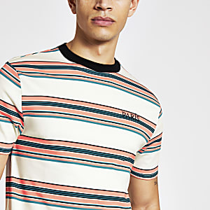Ecru stripe 'Paris' slim fit T-shirt