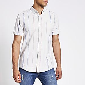Gestreiftes Regular Fit Hemd in Ecru