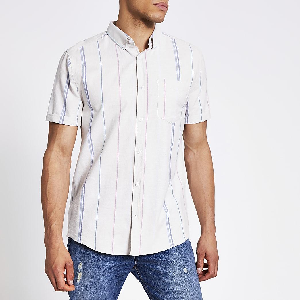 Ecru stripe regular fit short sleeve shirt