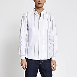 Ecru gestreept regular-fit overhemd met korte mouwen