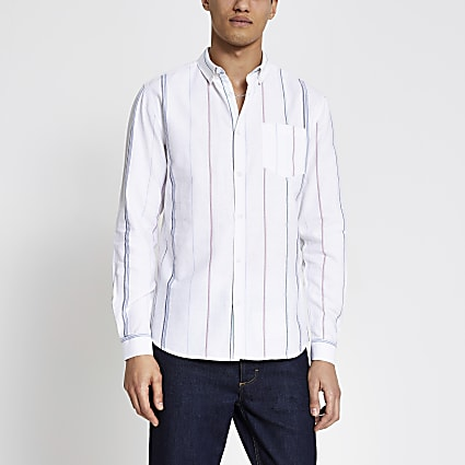Ecru stripe short sleeve regular fit shirt