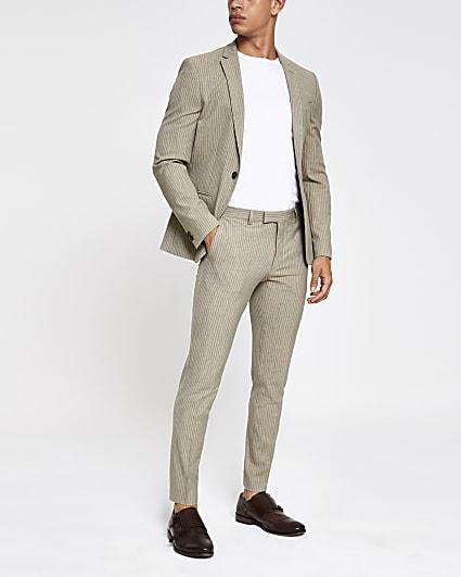 Ecru stripe super skinny fit suit trousers