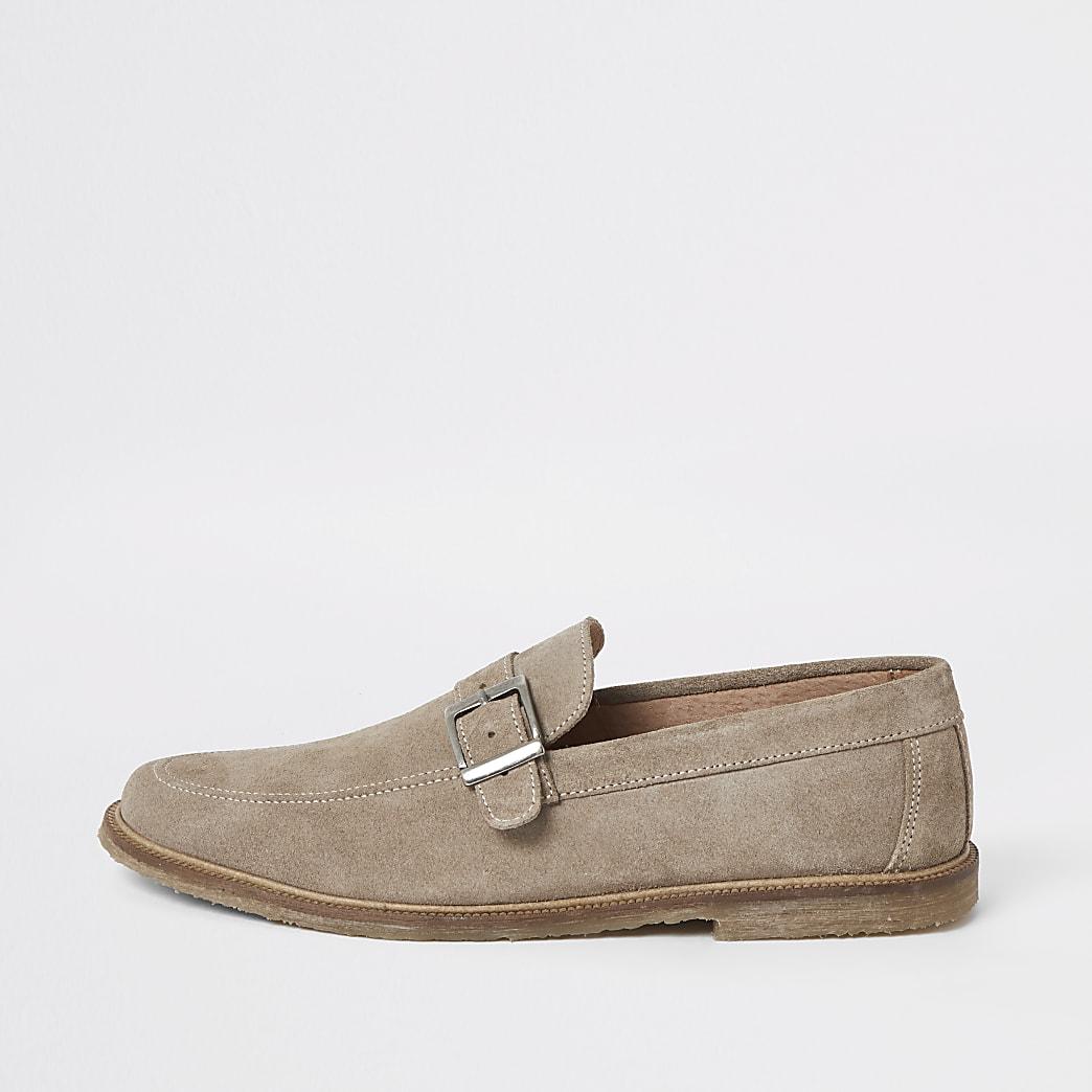 Wildleder-Loafer aus Wildleder in Ecru