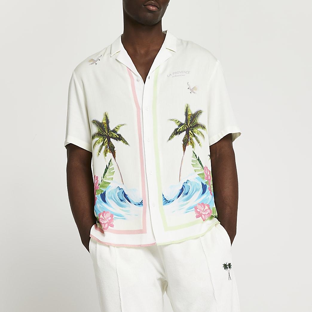 Ecru surf revere short sleeve shirt
