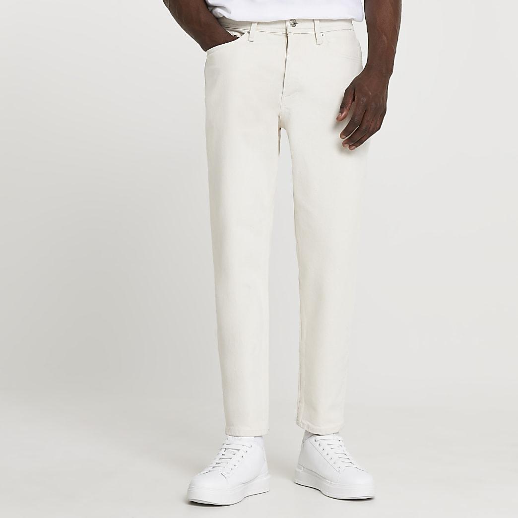 Ecru tapered fit jeans